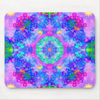 Purple and Green Kaleidoscope Fractal Mousepads