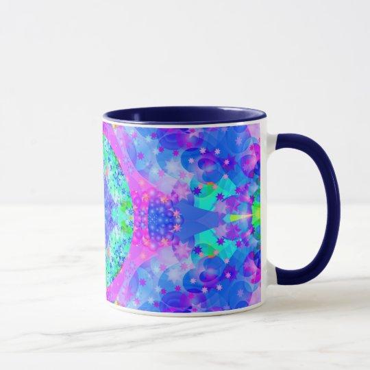 Purple and Green Kaleidoscope Fractal Mug