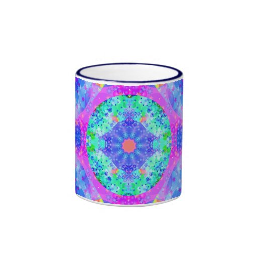 Purple and Green Kaleidoscope Fractal Ringer Coffee Mug