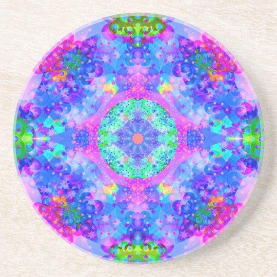 Purple and Green Kaleidoscope Fractal Sandstone Coaster