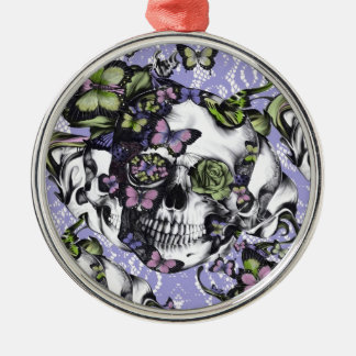 Purple and green lace butterfly skull case christmas tree ornaments