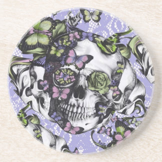 Purple and green lace butterfly skull case sandstone coaster
