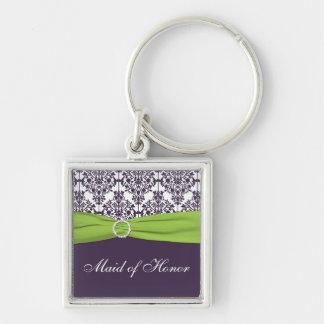Purple and Green Maid of Honor Keychain