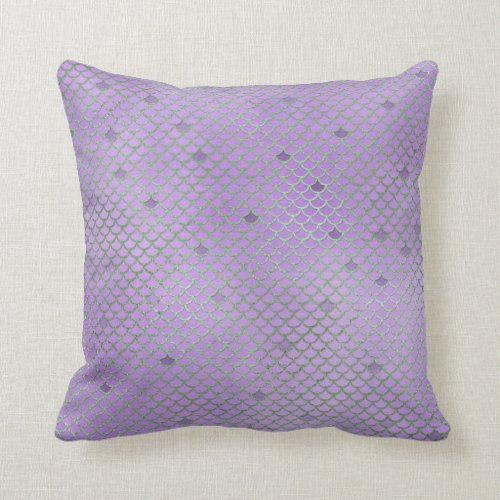 Purple and Green Mermaid Scales Throw Pillow