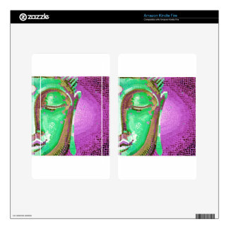 Purple and Green Mosaic Buddha Face Skins For Kindle Fire