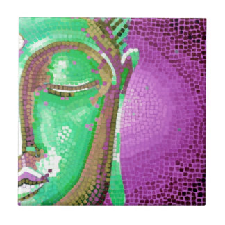 Purple and Green Mosaic Buddha Face Small Square Tile