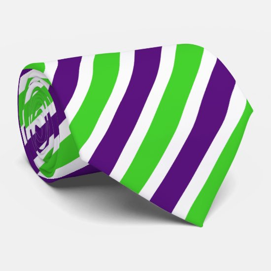[Purple and Green] Narrow Stripes Neck Tie