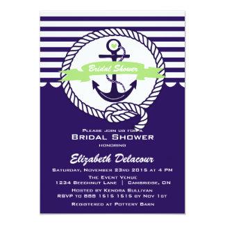 Purple and Green Nautical Bridal Shower Invitation