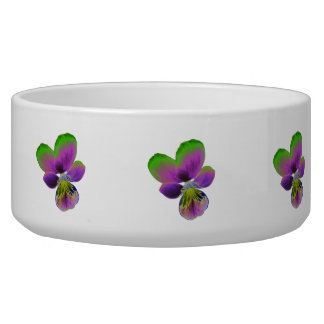 Purple and Green Pansy Dog Bowl