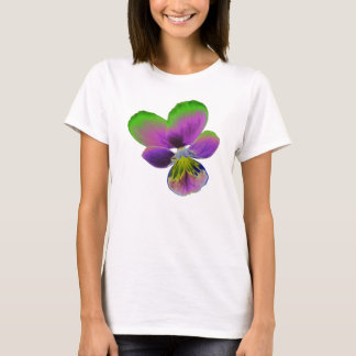 Purple and Green Pansy Ladies T Shirt