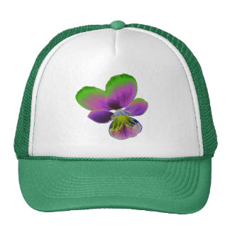 Purple and Green Pansy Trucker Hat