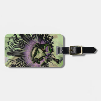 Purple and Green Passion Flower Bloom Bag Tag