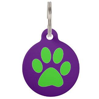 [Purple and Green] Paw Print Pet ID Tag