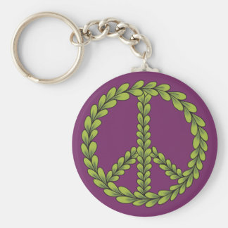 Purple and Green Peace sign with leaves Basic Round Button Keychain