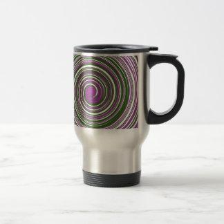Purple and green pinwheel design travel mug