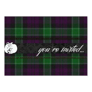 Purple and Green Plaid Halloween Party Card