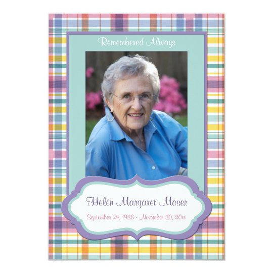 Purple and Green Plaid Memorial Card with Photo