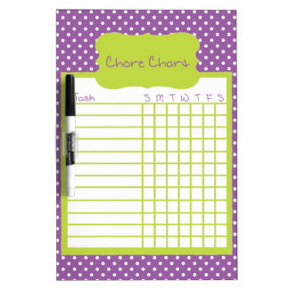 Purple and Green Polka Dot Chore Chart Dry-Erase Board