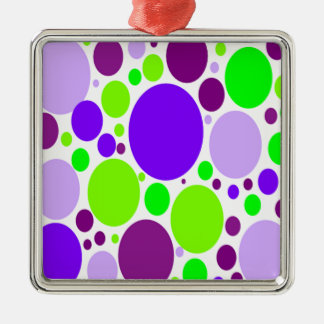 Purple And Green Polka Dots Metal Ornament