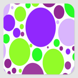 Purple And Green Polka Dots Square Sticker