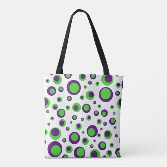 [Purple and Green] Polkadots Tote Bag