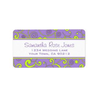 Purple and Green Scroll Custom Address Label