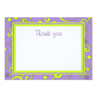 Purple and Green Scroll Flat Thank You Card