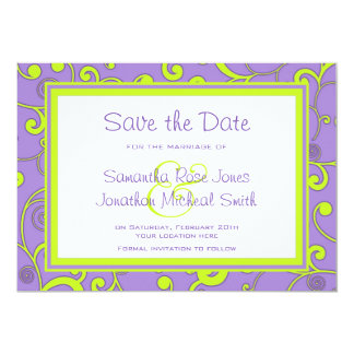 Purple and Green Scroll Save the Date Card