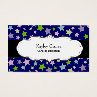 Purple and Green Star Pattern business cards