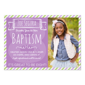 Purple and Green Stripe LDS Baptism Announcement