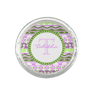 purple and green striped aztec pattern monogram photo rings