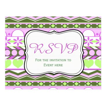 Aztec Themed Purple and green striped aztec pattern RSVP card