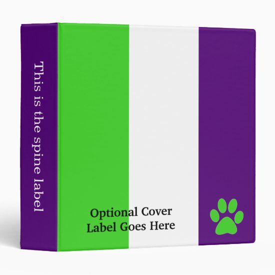 [Purple and Green] Striped Color-Block 3 Ring Binder