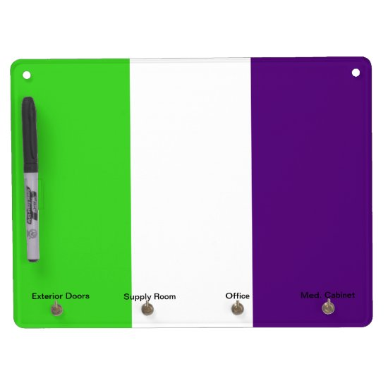 [Purple and Green] Striped Color-Block Dry Erase Board With Keychain Holder