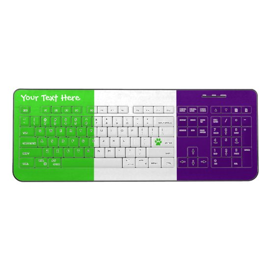 [Purple and Green] Striped Color-Block Wireless Keyboard