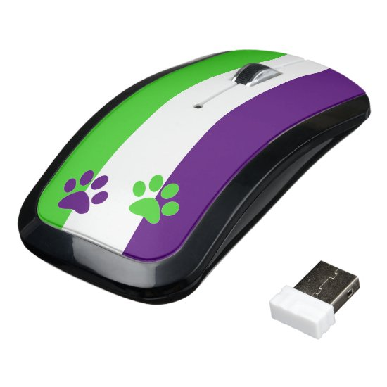 [Purple and Green] Striped Color-Block Wireless Mouse