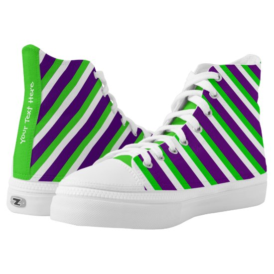 [Purple and Green] Striped High-Top Sneakers