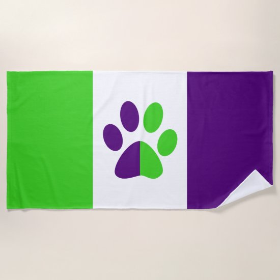 [Purple and Green] Stripes Color-Block Beach Towel