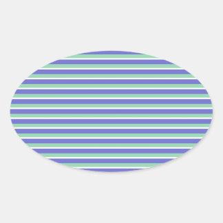 Purple and Green Stripes Pattern Oval Sticker