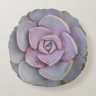 Purple and Green Succulent Photo Round Pillow