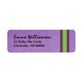 Purple and Green Swirl Ribbon Custom Return Address Labels