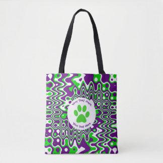 [Purple and Green] Swirled Op-Art Tote Bag