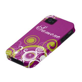 Purple and Green Swirls Vibe iPhone 4 Case
