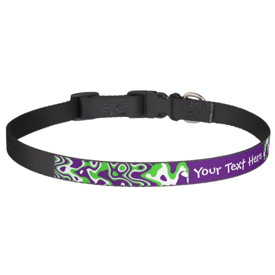 [Purple and Green] Swirls Op-Art Custom Pet Collar