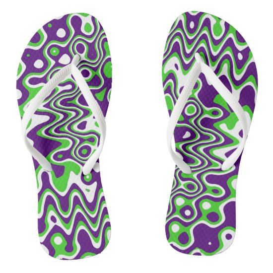 [Purple and Green] Swirls Op-Art Flip Flops