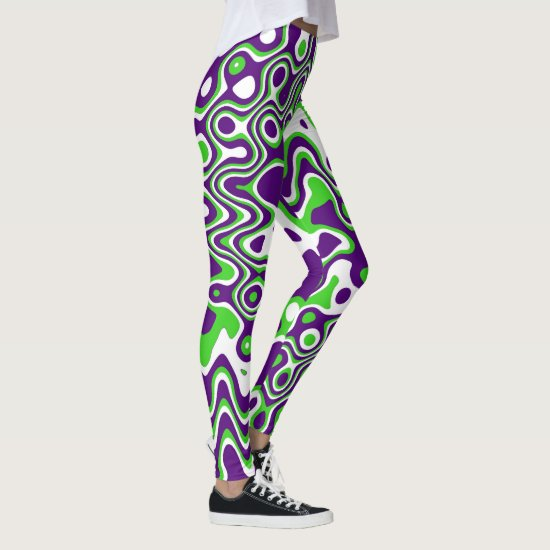 [Purple and Green] Swirls Op-Art Leggings
