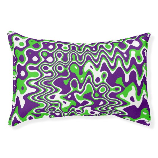 [Purple and Green] Swirls Op-Art Small Pet Bed