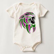 Purple and Green Tiger Head Baby Bodysuit
