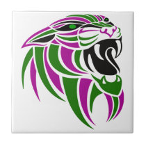 Purple and Green Tiger Head Tile