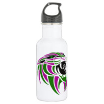 Purple and Green Tiger Head Water Bottle